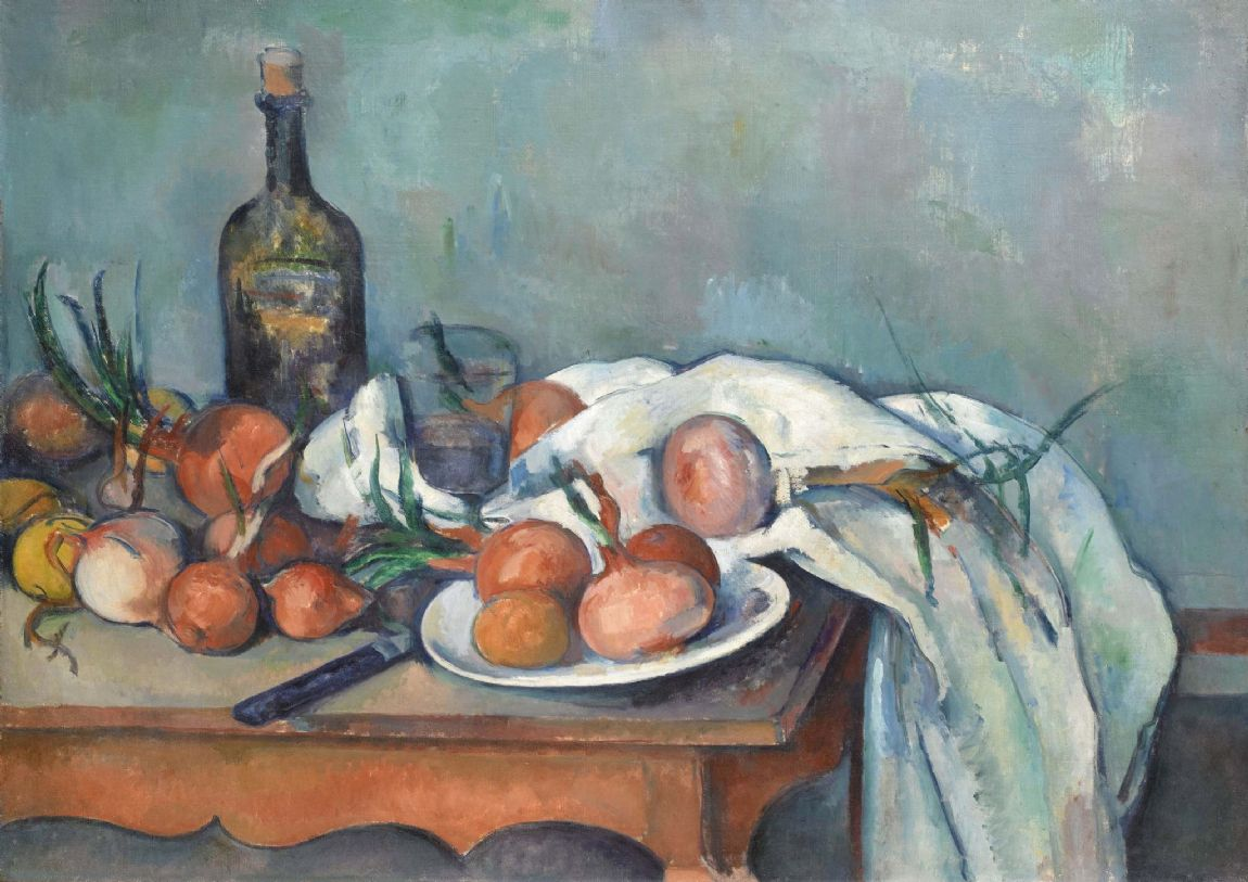 Cezanne, Paul: Still Life with Onions. Fine Art Print/Poster. Sizes: A4/A3/A2/A1 (004233)